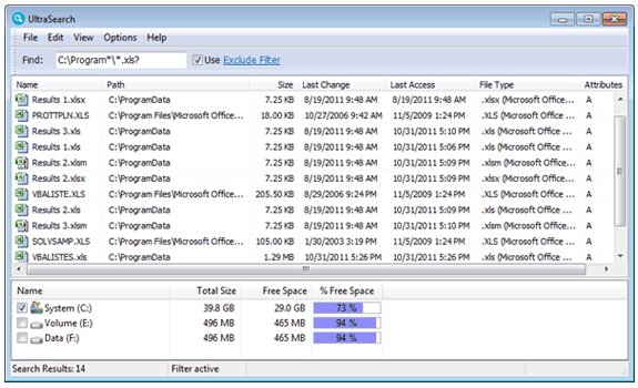 UltraSearch: Buscador rápido de ficheros