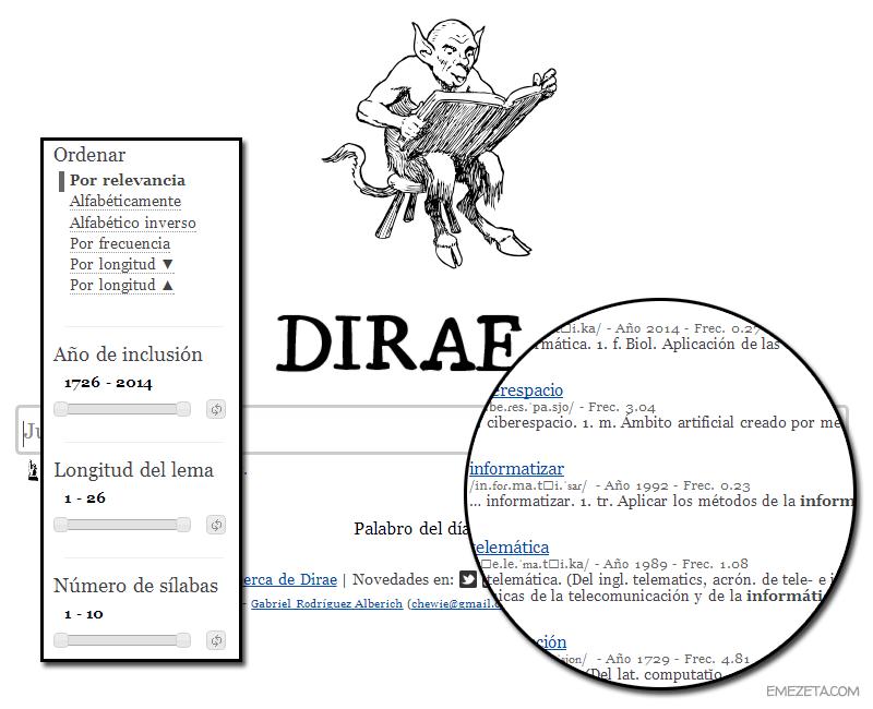 DIRAE: Diccionario inverso de la Real Academia Española
