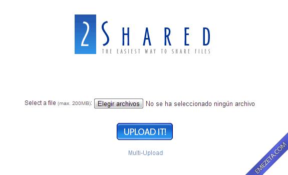 Páginas para subir o compartir archivos: 2shared