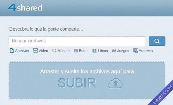 Páginas para subir o compartir archivos: 4shared