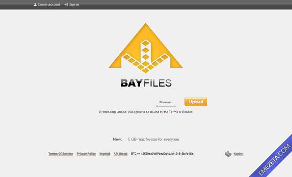 Páginas para subir o compartir archivos: Bayfiles