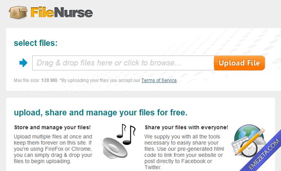 Páginas para subir o compartir archivos: Filenurse