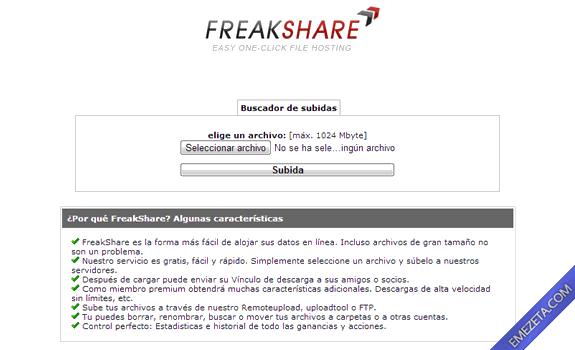 Páginas para subir o compartir archivos: Freakshare