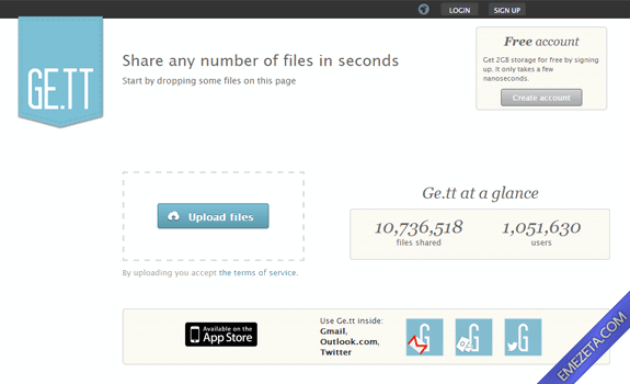 Páginas para subir o compartir archivos: Gett