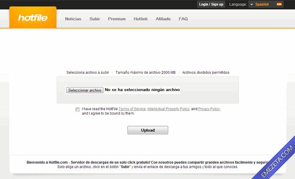 Páginas para subir o compartir archivos: Hotfile