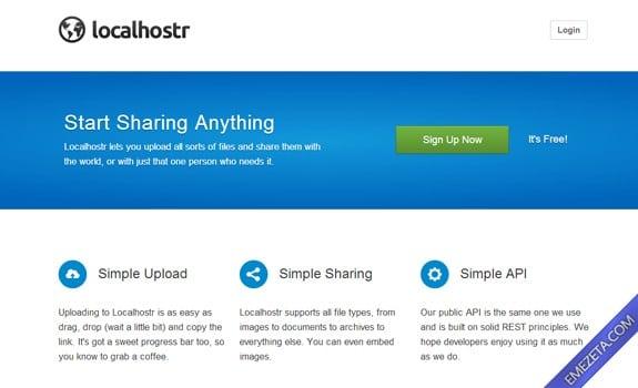 Páginas para subir o compartir archivos: Localhostr
