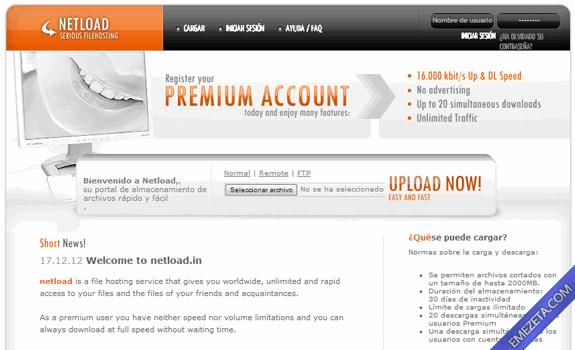 Páginas para subir o compartir archivos: Netload