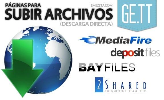 Páginas para subir o compartir archivos: Paginas subir archivos