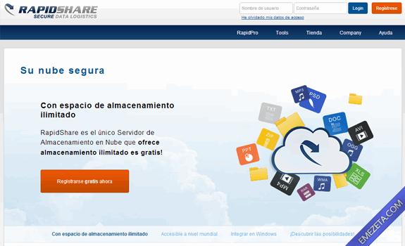Páginas para subir o compartir archivos: Rapidshare