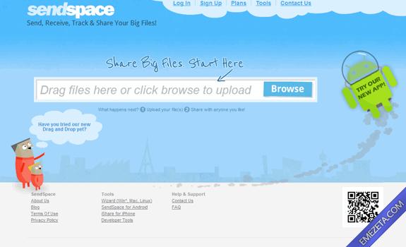 Páginas para subir o compartir archivos: Sendspace