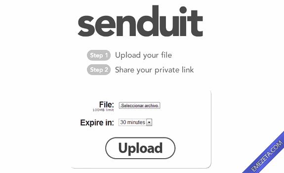 Páginas para subir o compartir archivos: Senduit