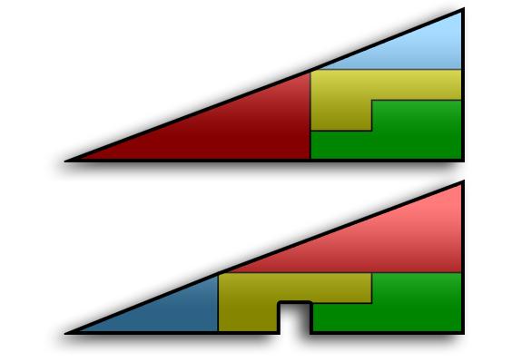 La paradoja del triángulo: el cuadrado perdido (matemáticas)