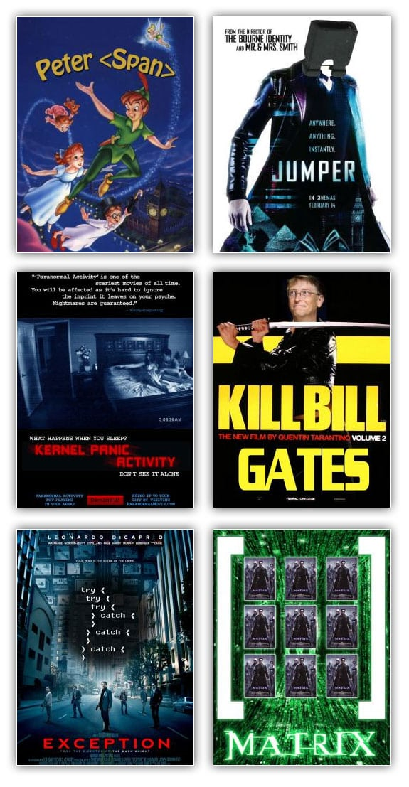 Peliculas informaticas: peter span, jumper, kernel panic activity, kill bill gates, exception, matrix