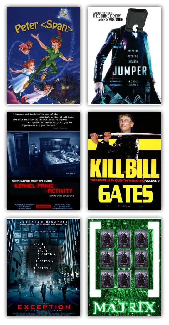 Peliculas informaticas: peter span, jumper, kernel panic activity, kill bill gates, exception, matrix