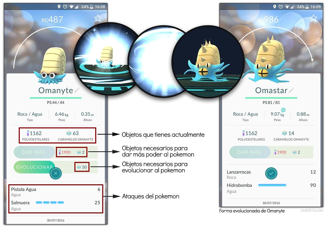 Evolucionar pokemon en Pokémon Go