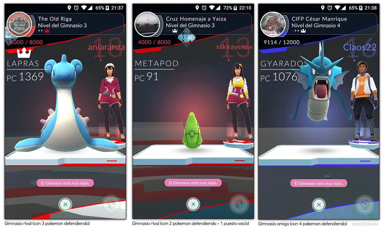 Gimnasio rival y gimnasio amigo en Pokémon Go