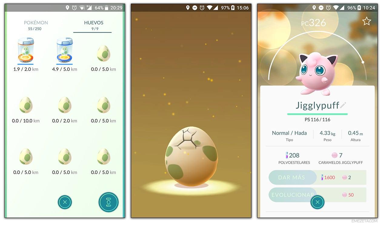 Huevos de Pokémon Go