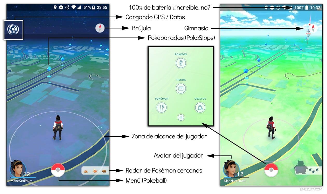 Interfaz principal de Pokémon Go