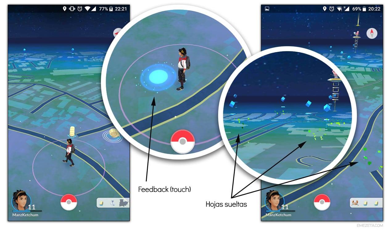 Círculo azul y hojas verdes en Pokémon Go