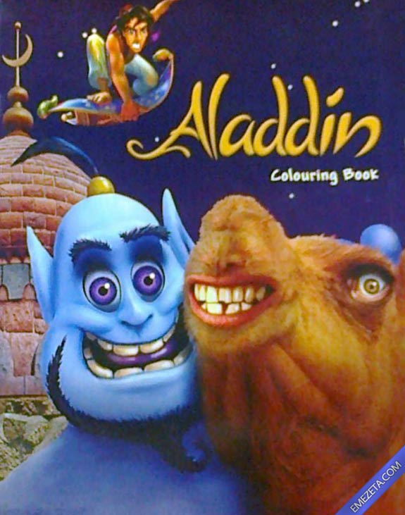 Portadas desconcertantes: Aladdin colouring book