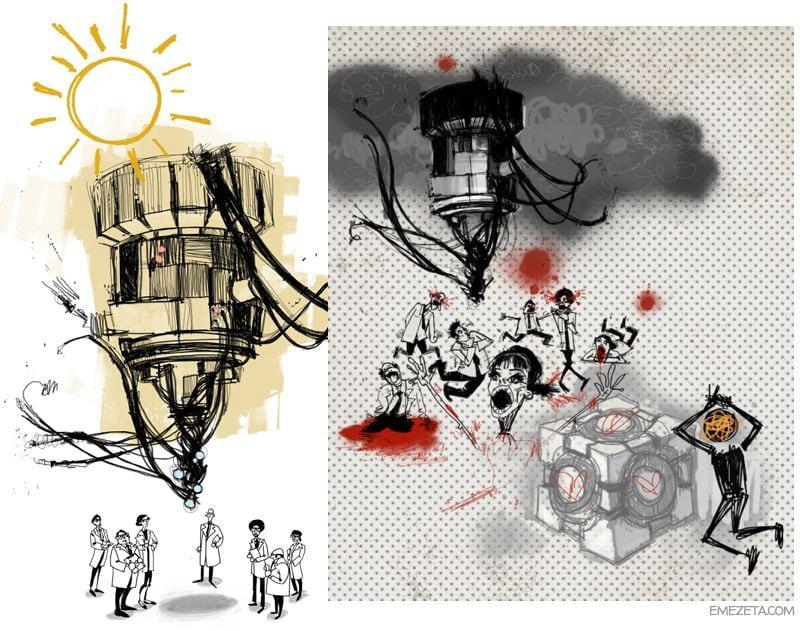 Portal 2: Dibujos de Rattmann (Caroline y GLaDOS)