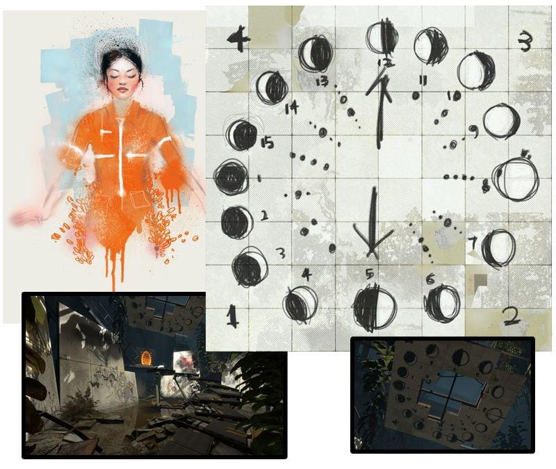 Portal 2: Dibujos de Rattmann (Chell y la luna)