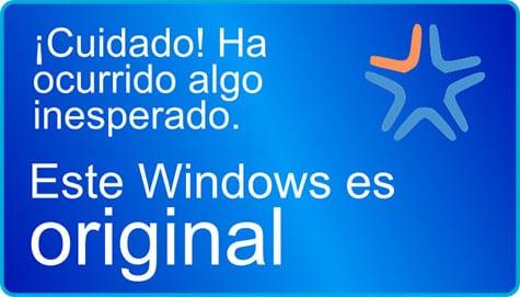 ¡Ha ocurrido algo inesperado! Su windows es original.