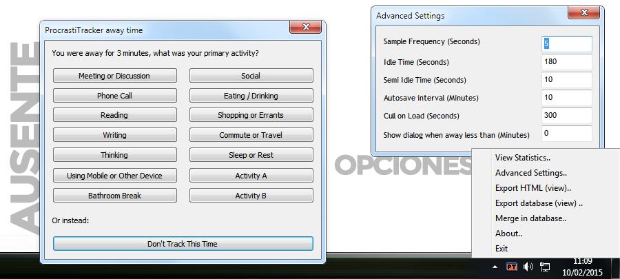 Opciones avanzadas de ProcrastiTracker