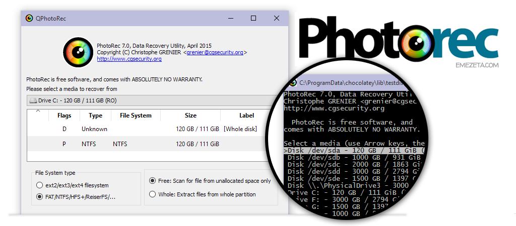 PhotoRec, recuperación de imágenes borradas