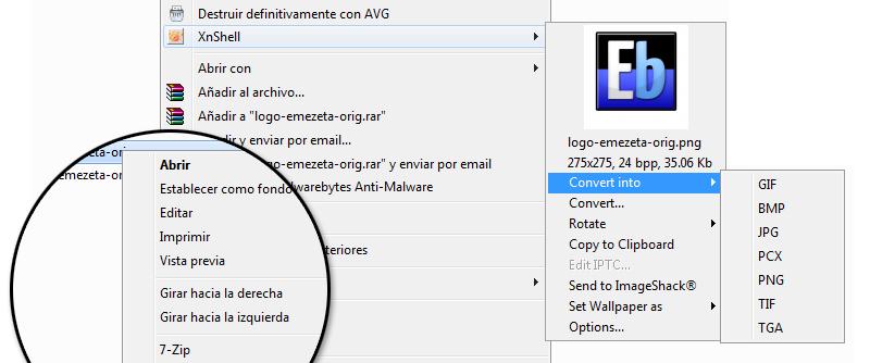 Conversión entre formatos gráficos (al estilo PicaView): XnShell