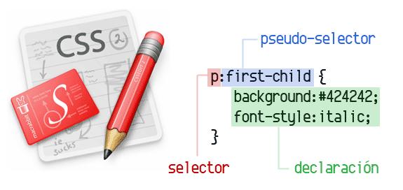 La sintaxis CSS se divide en tres partes: Selector, pseudo-selector y declaración.