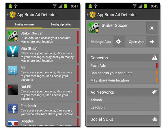 AppBrain Ad Detector: Permisos y publicidades en apps de Android