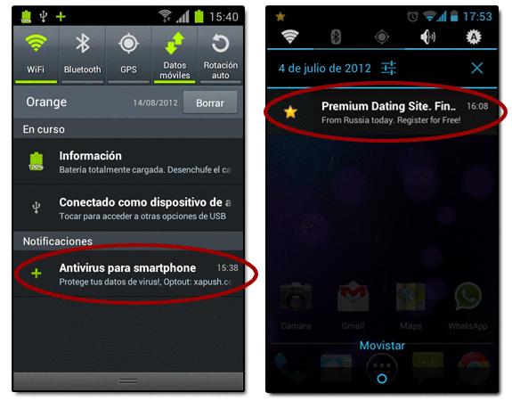 Publicidad en barra de notificaciones de Android
