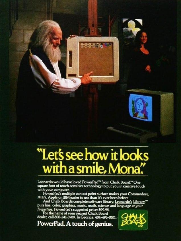 Publicidad retro: ChalkBoard PowerPad con Leonardo Da Vinci