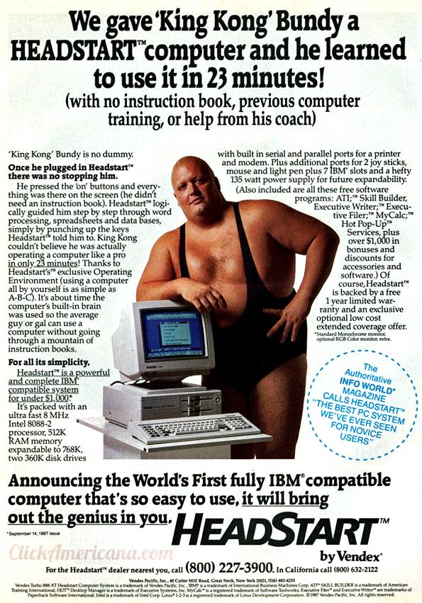 Publicidad retro: HeadStart Computer con King Kong Bundy