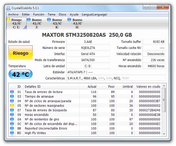 CrystalDiskInfo: Comprueba el estado de tus discos duros para averiguar si tus datos corren peligro