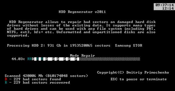 HDD Regenerator: Repara los sectores dañados de tu disco duro para recuperar los datos del mismo