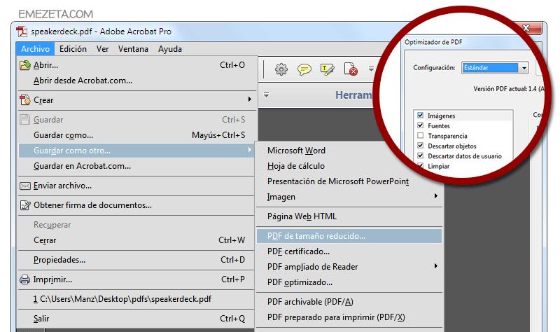 Como puedo disminuir de tamano un archivo pdf