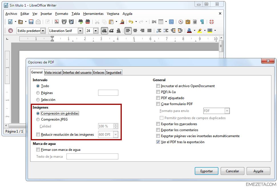 Exportar a PDF en LibreOffice