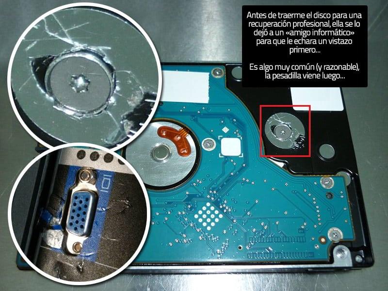Cuidado con los tornillos de los discos duros u otros componentes