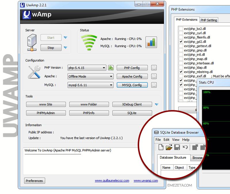 UwAmp (Apache + MySQL + PHP)