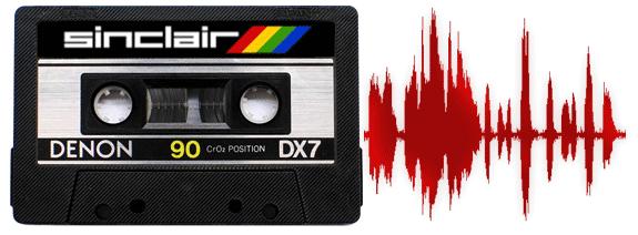 Cinta de cassette de la época del Spectrum ZX. Al lado, una onda de sonido (waveform).