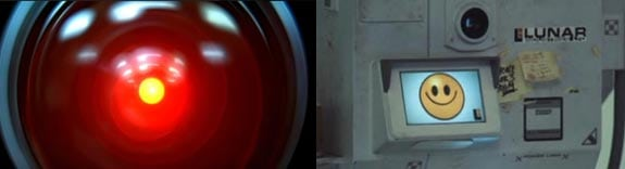 2001 Odisea en el espacio: HAL 9000 y Moon: El robot Gerty.