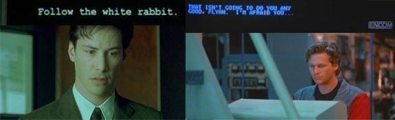 Matrix: Sigue al conejo blanco y Tron: Control central de procesos