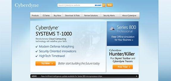 Página web corporativa de Cyberdyne al estilo de las webs de Microsoft
