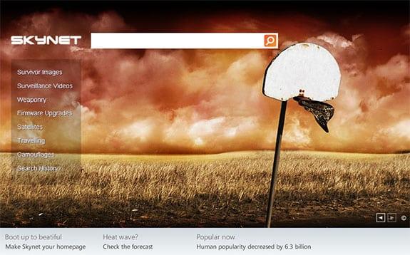 Página web corporativa de Skynet al estilo del buscador de Microsoft, Bing
