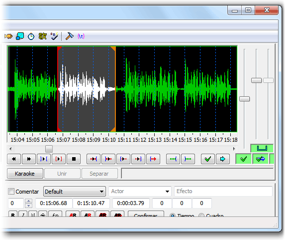 Aegisub, cargando el audio de un video para subtitular
