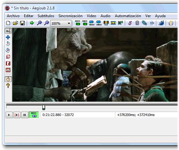 Aegisub, cargando un video para subtitular