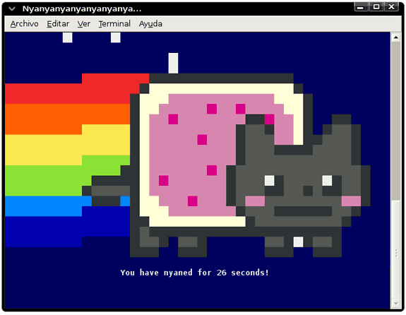 Nyan cat via telnet, en Linux