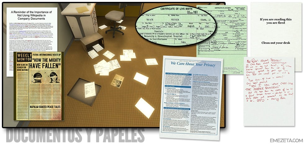 Documentos y papeles de la oficina de The Stanley Parable